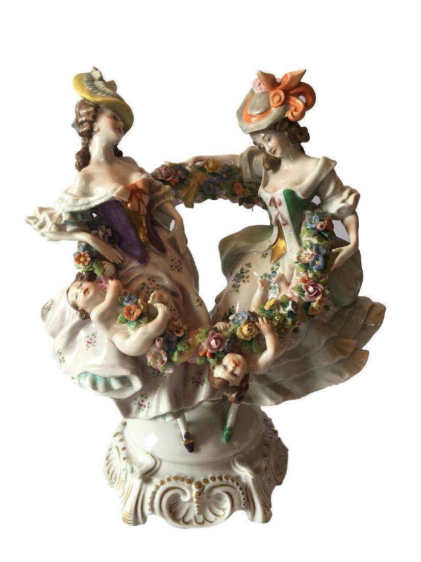 Large 19th Century Dresden German Porcelain Ring Around