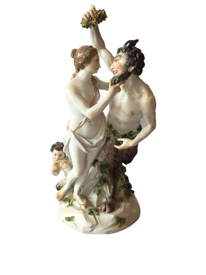 Rare Meissen Porcelain Group of Satyr Courting Nymph