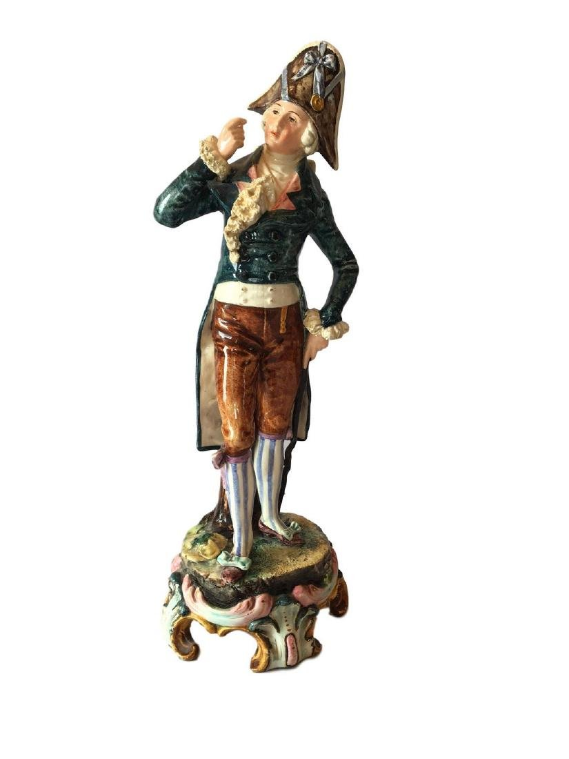 Large Antique French Majolica Figure of a Gallant
