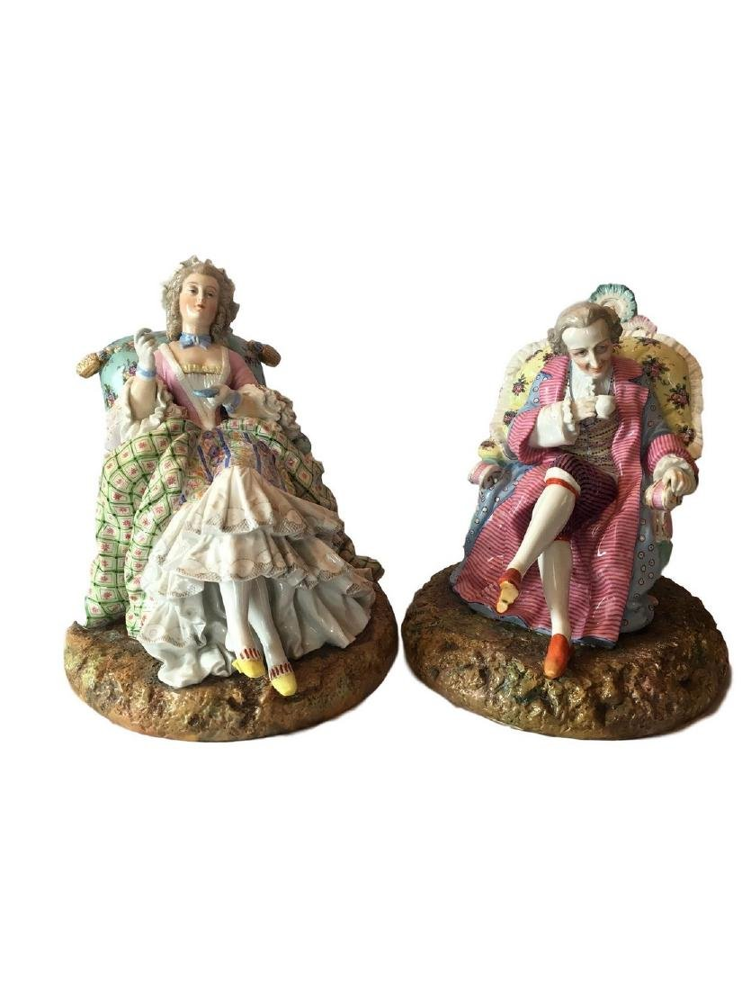 Antique Dresden German Porcelain Pair of Figures