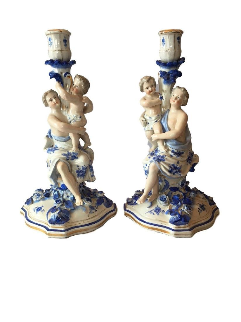 Antique pair of dresden Sitzendorf blue and white