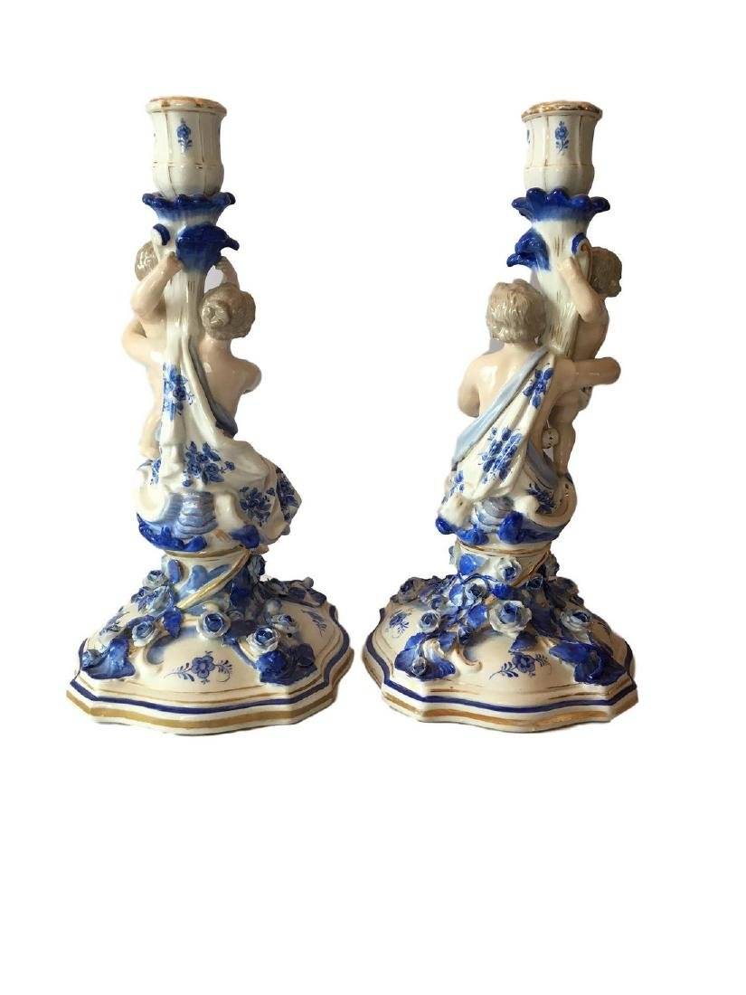 Antique pair of dresden Sitzendorf blue and white - 2