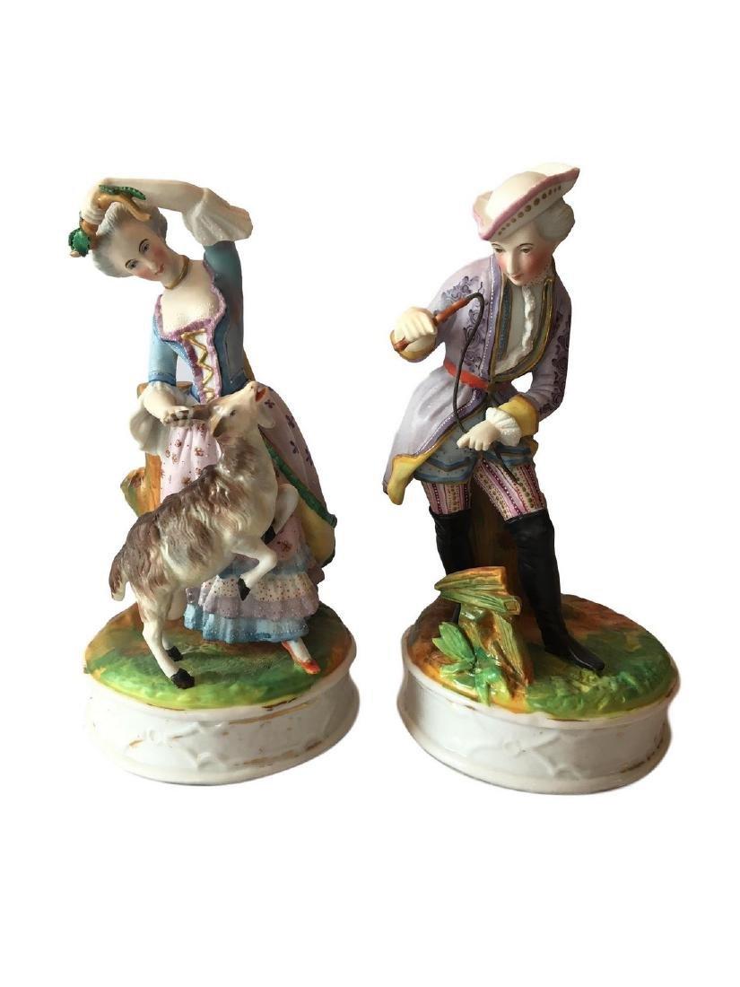 Antique Old Paris Porcelain Pair of Figures