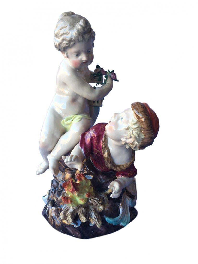 Antique Meissen Porcelain Group of Winter
