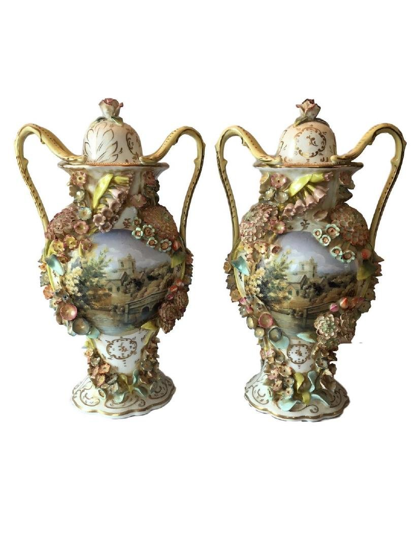 Antique Pair of FRENCH PORCELAIN TWO-HANDLED VASE AND