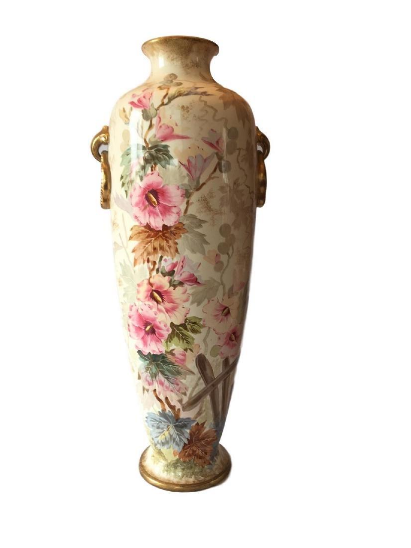 Large Antique Royal Bonn Floral Floor Vase Dresden