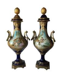 Antique Pair of Sevres Porcelain and Bronze Cobalt Urn