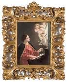 Antique KPM Painted Porcelain Plaque of Saint Cecilia