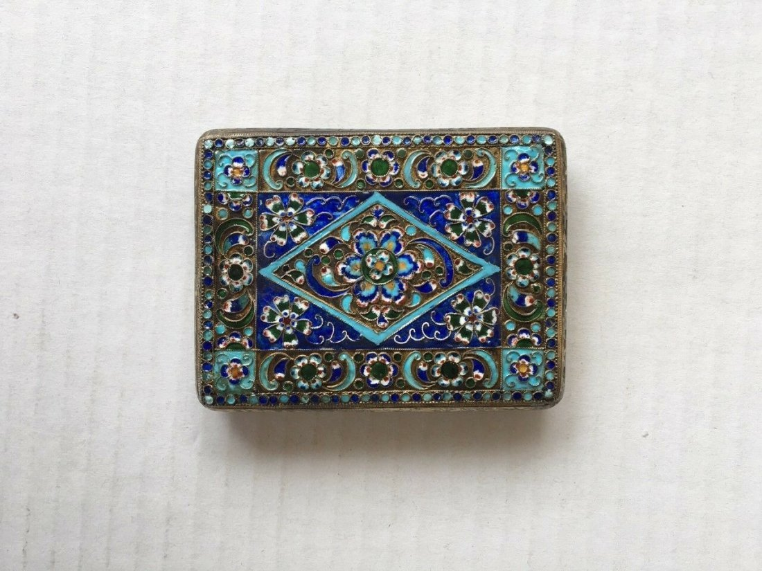 Antique Russian Silver and Enamel Cigarette case - 2