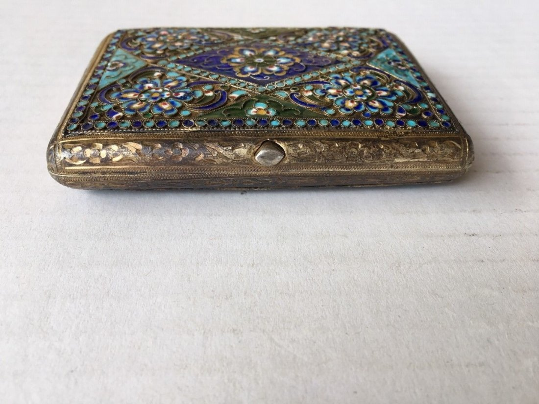 Antique Russian Silver and Enamel Cigarette case - 6