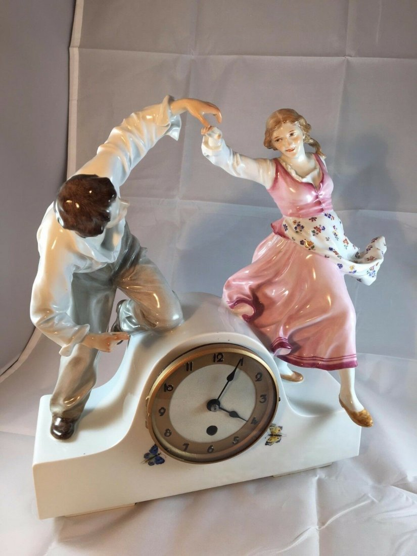 Monumental Antique Meissen Art Nouveau Porcelain Clock - 2