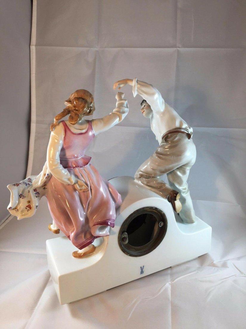 Monumental Antique Meissen Art Nouveau Porcelain Clock - 4
