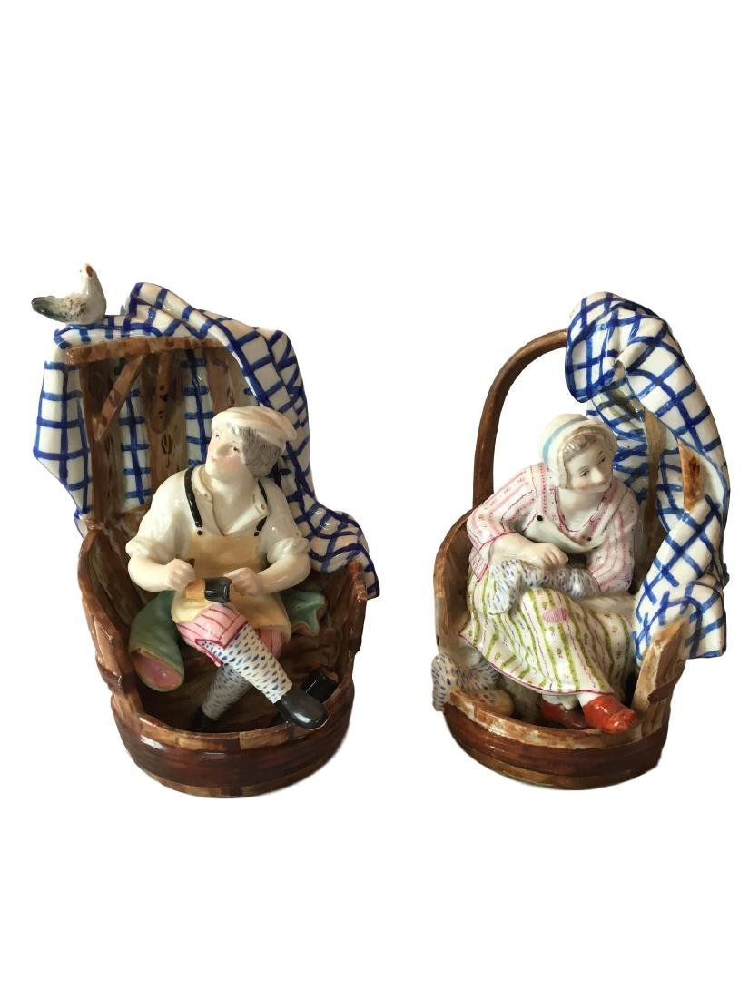 Antique Meissen Stlye Pair of Cobblers