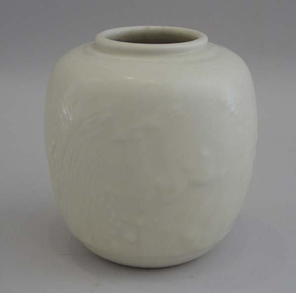 7: Rookwood Vase, White Antelope, #6214, 1942
