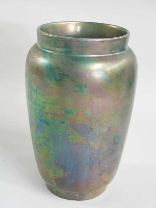 """9: Zsolnay vase, 8.5""""h, Opening 4.25""""w."""