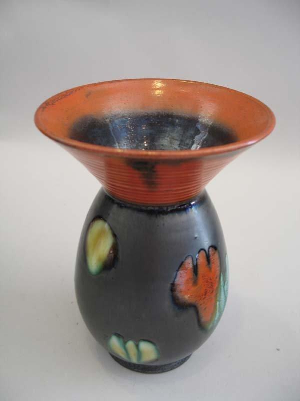 "12: German Black & Orange Vase, 7""h."