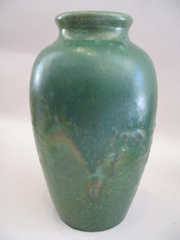 """13: Fulper Green Mottled Glaze Vase, 12""""h."""