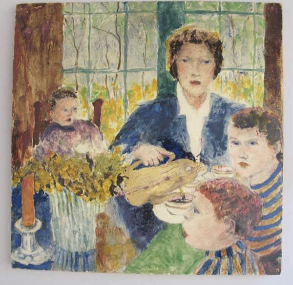 14: Porcelain Plaque, Painted Family Scene