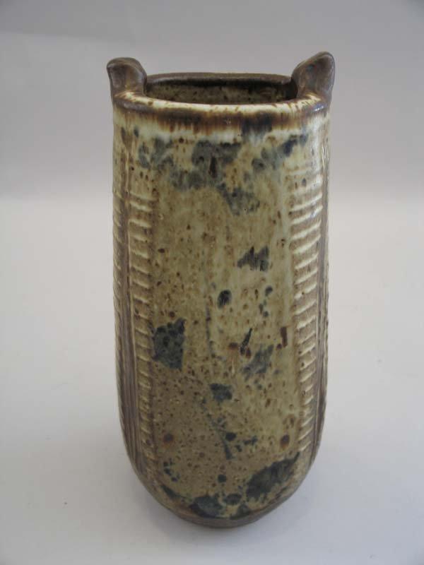 """15: Pottery Vase, Mark """"VSO"""", 11""""h."""