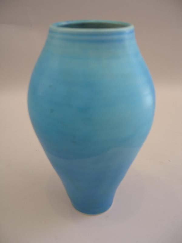 """16: Turquoise Vase, illegible signature, 10""""h."""