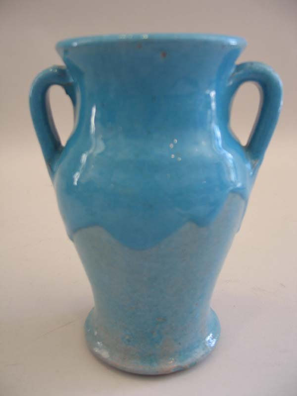 "18: North St. Pottery Blue Vase, 6""h."