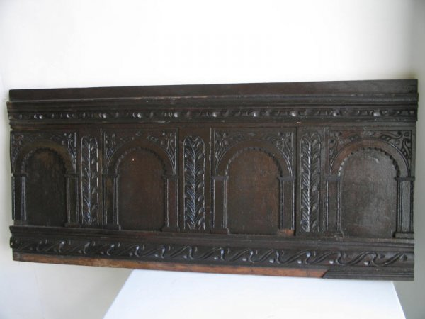 9: A 17th C English Carved Oak Furniture Panel