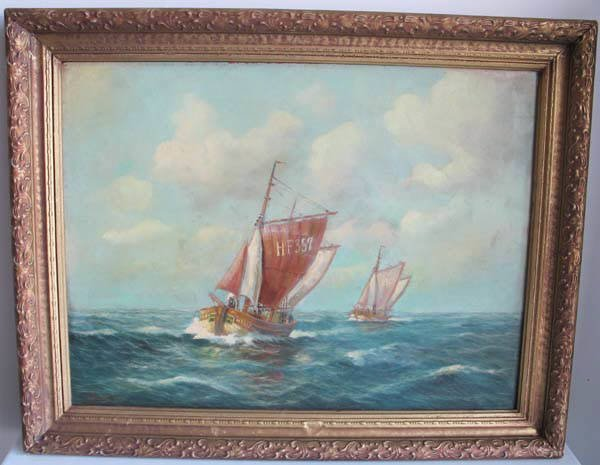 17: An E 20th C Oil on Masonite of Sailing Ships