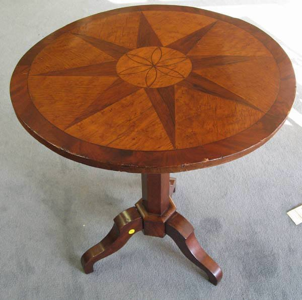 19A: Unusual E19th C Walnut Tilt-top Tea Table