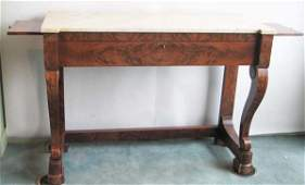 199: Magnificent E19th C Marble-top Mahogany Sideboard