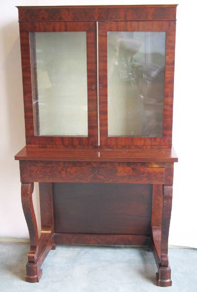 222: E-Mid 19th C Mahogany Empire Secretary Bookcase