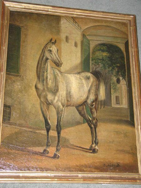 1: 19th C Oil on Canvas of a Grey Horse