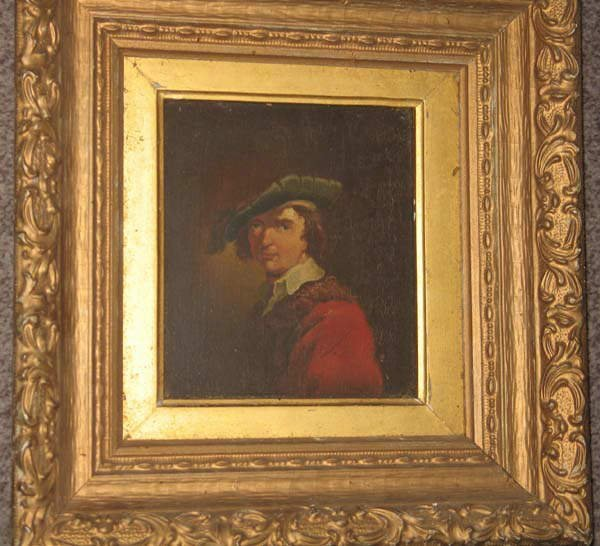 11: Early Oil on Panel, Gentleman with Green Hat