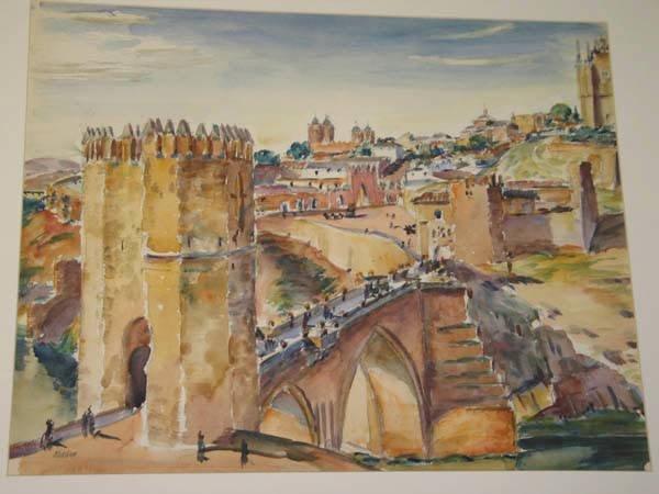 "15: Max Kuehne Watercolor, ""View of Toledo Spain"""