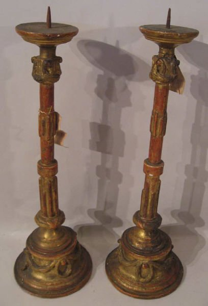 5: A Pair of 18th C Gilt Torchieres