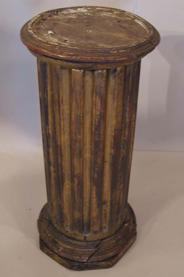 10: A 19th C Fluted Giltwood Display Column