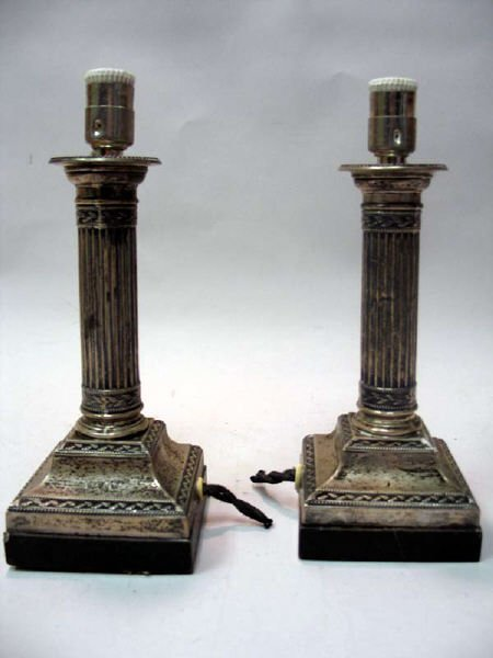 17: A Pair of Sheffield Sterling Lamps