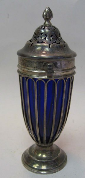 21: A Sterling and Cobalt Glass Castor