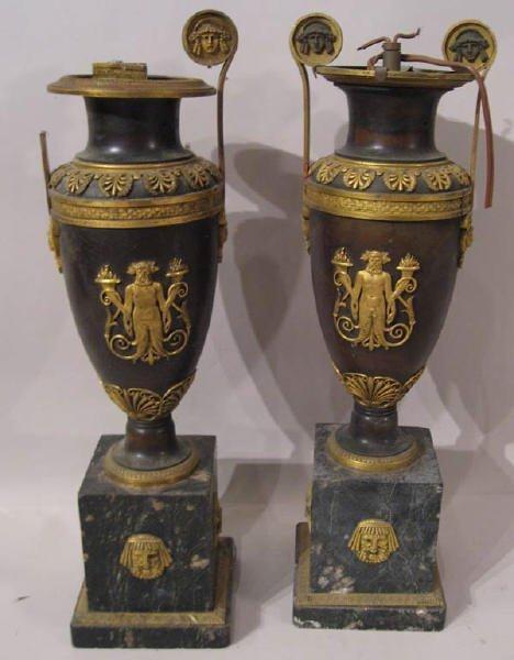 240: A Pair of Bronze Urns