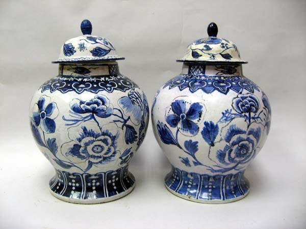 2: A Pair of Early Dutch Delft Lidded Jars