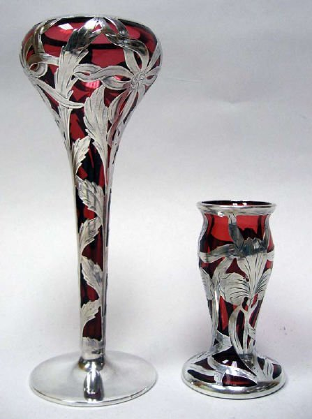 21: Two Sterling Overlay Cranberry Vases