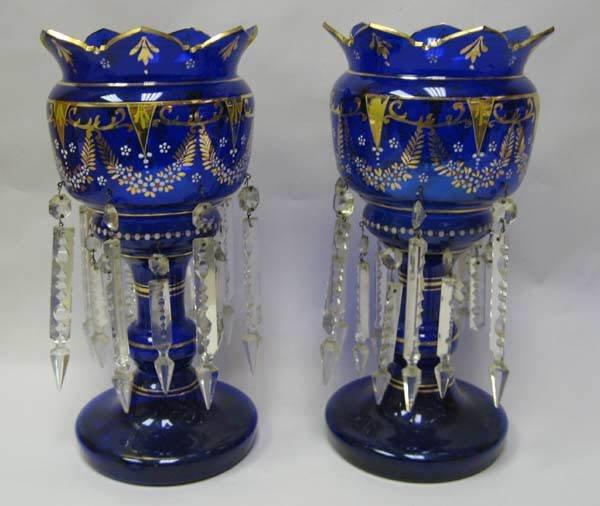 22: A Pair of Cobalt Glass Lustres