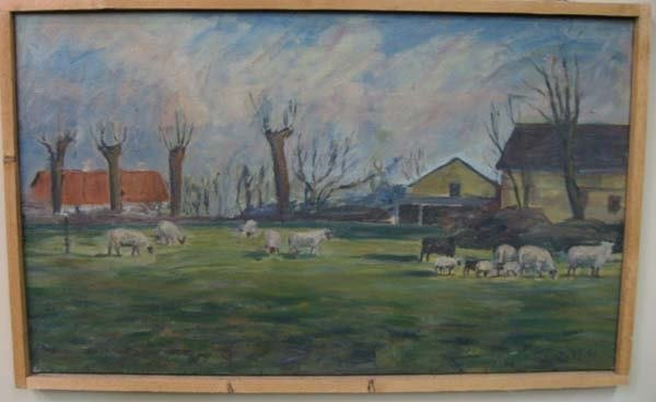 2A: Oil on canvas Expressionist-style, grazing sheep
