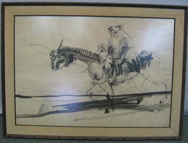4A: Large brush watercolor man on horse