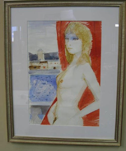 6A: Charles Levier watercolor of a nude (Paris school)