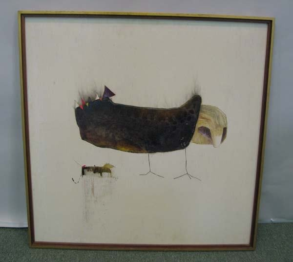 9A: Oil on board modern bird, 1960s