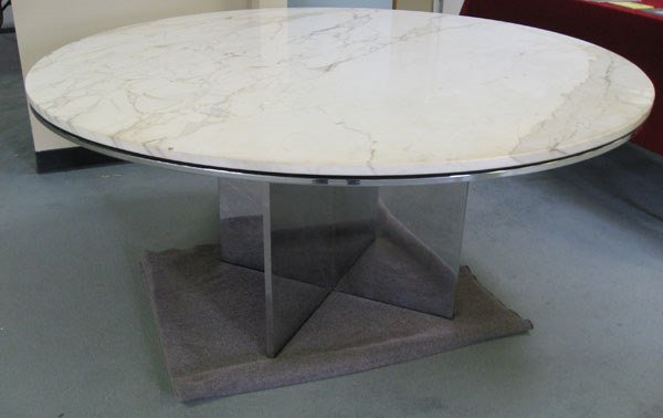 10A: Knoll round marble-top table, X-shaped chrome base