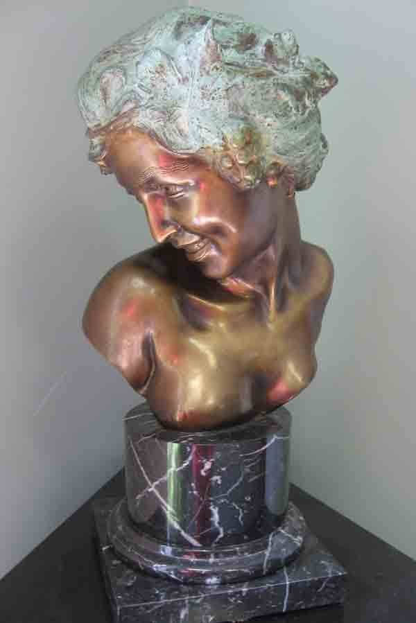 14A: A. de Luca bronze bust of lady on marble base