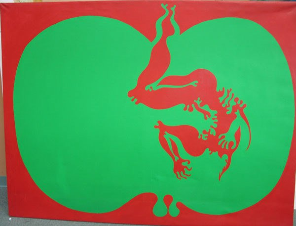 16A: Jan Dobkowski red and green abstract oil on canvas