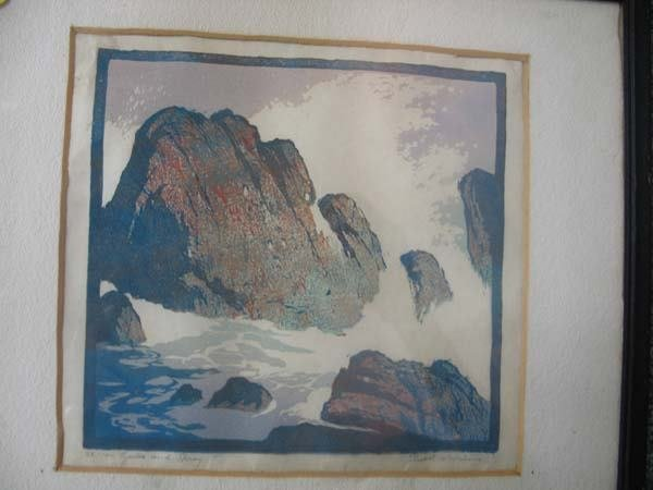 "19A: Ernest Watson block print ""Rocks and Spray"""