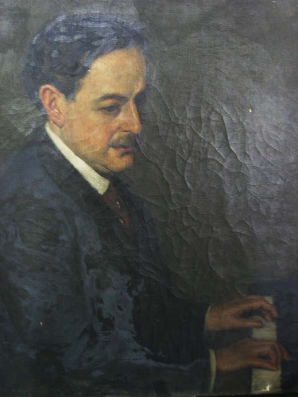 21A: Oil on canvas of piano player
